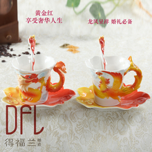 Chinese Style Coffee Cup Dragon and phoenix Ceramic Couple Mug set wedding ceremony items with the European Cup bone chinese cup