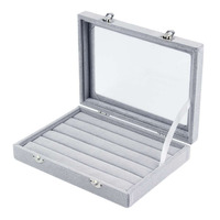 Portable Grey Velvet Glass Ring Necklace Jewelry Box 100 Rings Necklaces Display Show Case Holder Stand