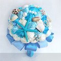 handmade blue marine style wedding bouquets beaded pearl and shells bridal holding bouquet for beach wedding wrist corsages 20cm