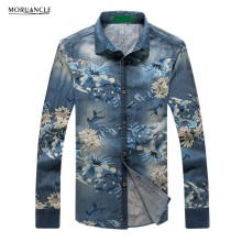 MORUANCLE Fashion Men's Floral Denim Shirts Long Sleeve Flower Printed Jean Shirt For Male Plus Size M-5XL High Quality E0356(China)