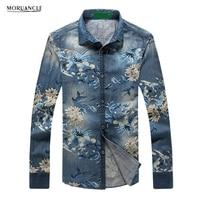 MORUANCLE Fashion Men's Floral Denim Shirts Long Sleeve Flower Printed Jean Shirt For Male Plus Size M 5XL High Quality E0356