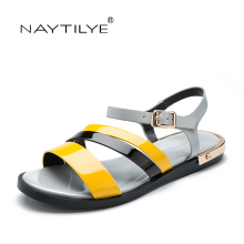 Woman Sandals Flats Summer 2017 Mixed Colors Casual woman shoes Buckle Strap 36-41 Free shipping NAYTILYE brand