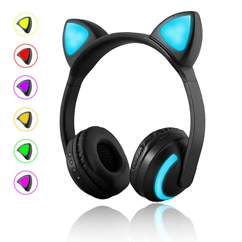 Wireless Bluetooth Cat Ear Headphones ihens5 C5 Foldable LED light Glowing Cosplay Fancy Cat Headset gift for girls kids Phones