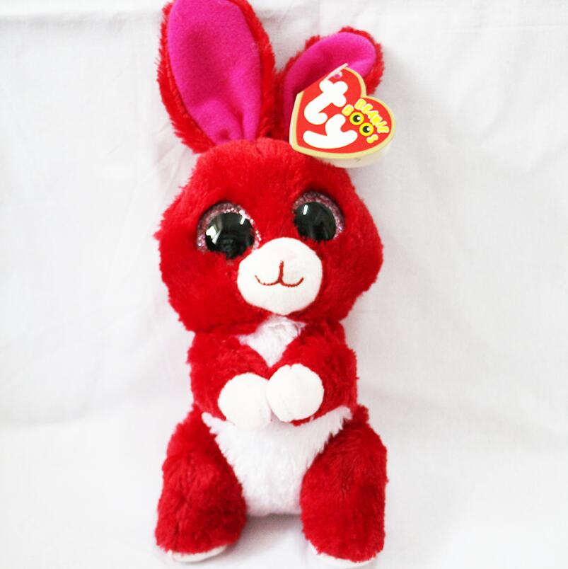 """6"""" TY Beanie Babies Boo's Red the Rabbit Bunny 15cm Big"""