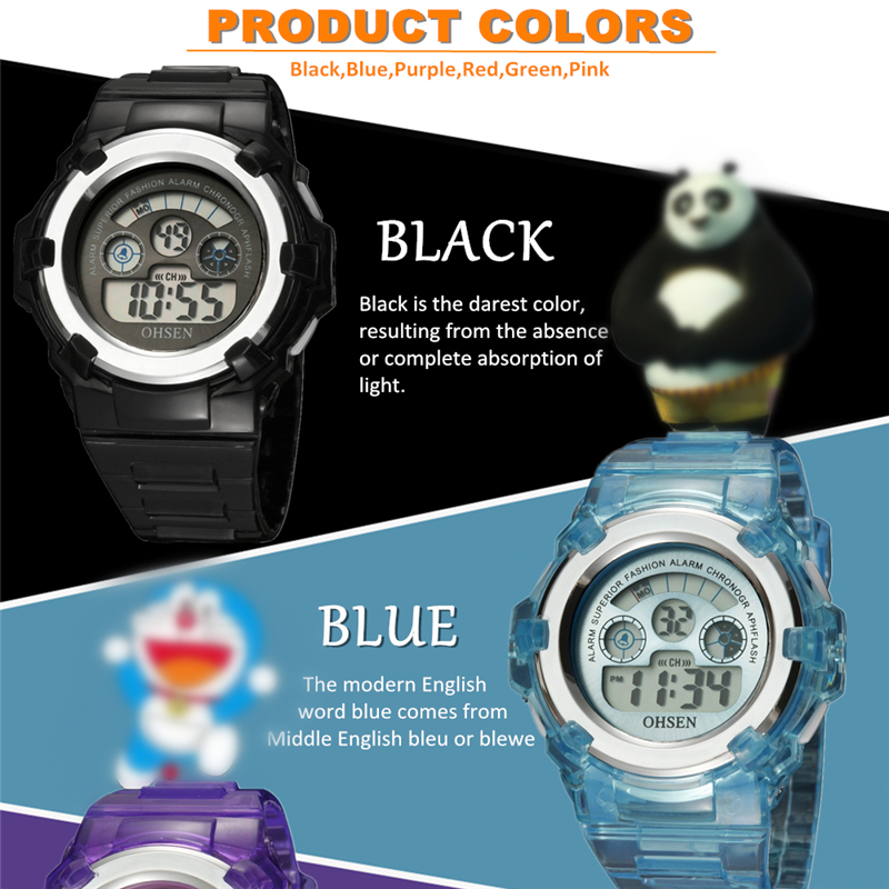 OHSEN Kids Watches Children Digital LED Fashion Sport Watch Cute Boys Girls Wrist watch Waterproof Gift Watch Alarm Kids Clock (31)