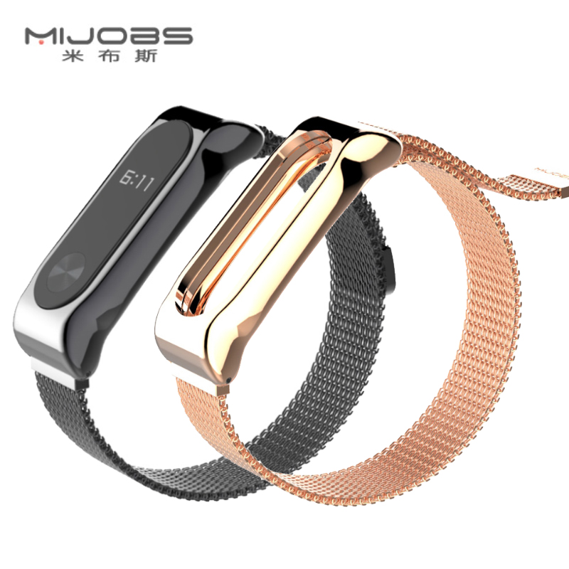 Mijobs Metal Strap For Xiaomi Mi Band 2 Screwless Stainless Steel Bracelet For MiBand 2 Wristbands Replace Strap For Mi Band 2