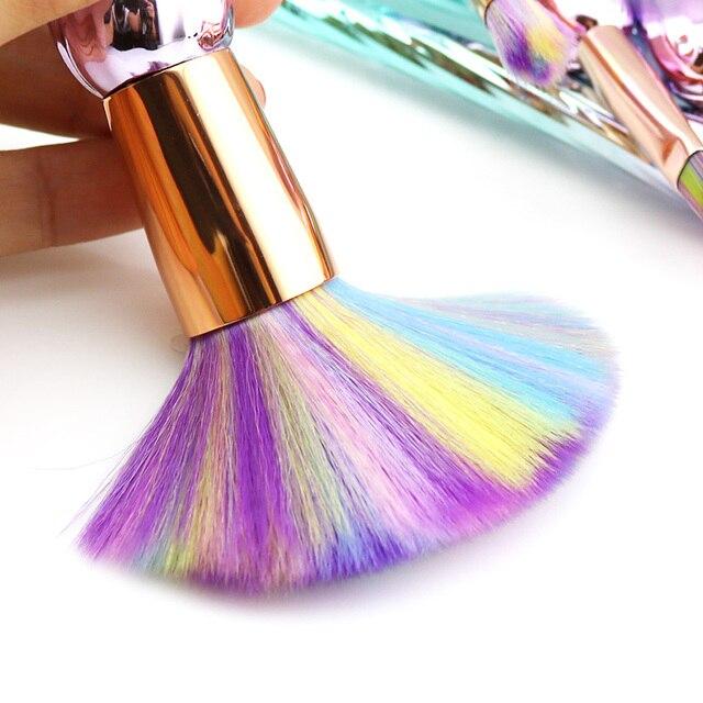 7PCS Unicorn Makeup Brushes New Spiral Thread Rainbow Hair Powder Eyebrow Eye shadow Blusher Brushes Make Up Kwasten Brush 2