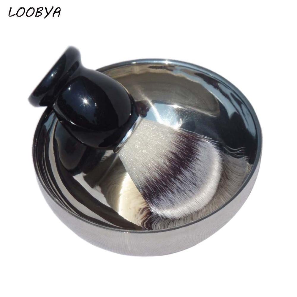 2pc / set syntetisk rakborste med skäggsåpskål för mäns ansiktsskärpa