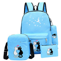 2017 New Fashion 4 Set Schoolbag Unisex Korean Rucksack Girl Shoulder Bag Cute Cat Print Backpack