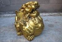 China Feng Shui Brass Lucky money evil spirit Brave troops Beast statue a 0518