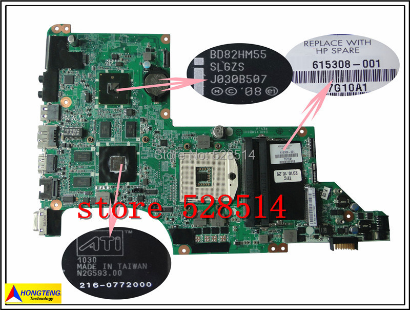 Подробнее о original For HP PAVILION DV7-4000 notebook motherboard 615308-001 1GB mainboard Professional  100% Test ok 665993 001 for hp pavilion dv7 mainboard dv7 6000 notebook motherboard 100