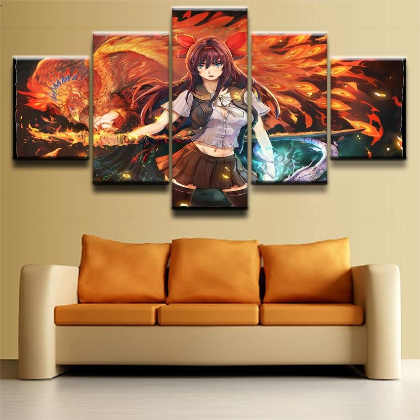 5 Pieces Anime Original Bird Girl Phoenix Wall Art Picture