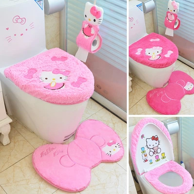 Hello Kitty Bathroom Set Toilet Set Cover Seat Cover Bath Mat Holder