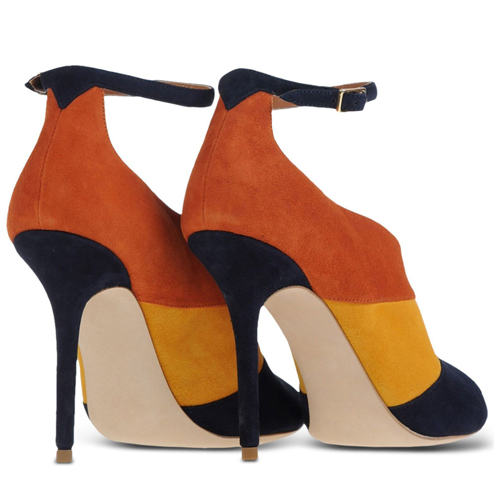 c8a304750ba US $58.52 24% OFF|Shoes Woman Lady Black Suede Patch Color Sexy Peep Toe  Thin Ankle Strap beige Bottoms High Heels Pumps big size 5 14 Career -in ...