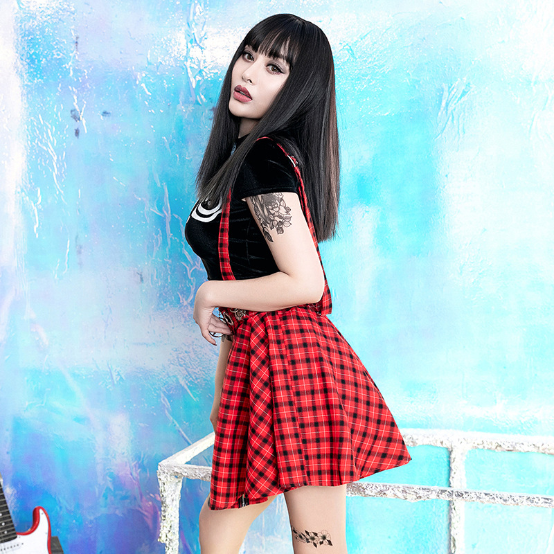 Goth Dark Aesthetic ELegant Red Plaid Skirts Gothic Summer 2019 Zipper Streetwear Harajuku Skirt Pleated Patchwork Skirts Eyelet 1