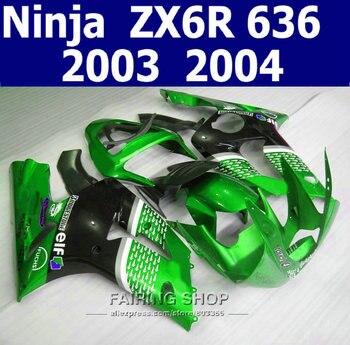 Motorcycle Fairing kit For Kawasaki Ninja ZX6R 2003-2004 03-04 100%fit Fairings ( Green black ) k56