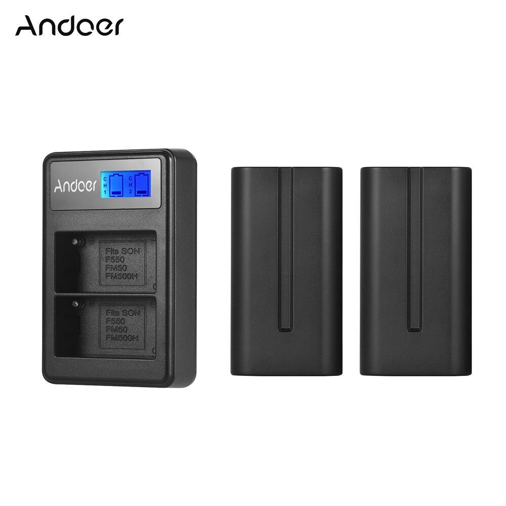 Andoer Battery Charger Kit 2pcs 7 4V 2200mAh NP F550 Battery 1pc LCD2 NPF550 Dual Channel