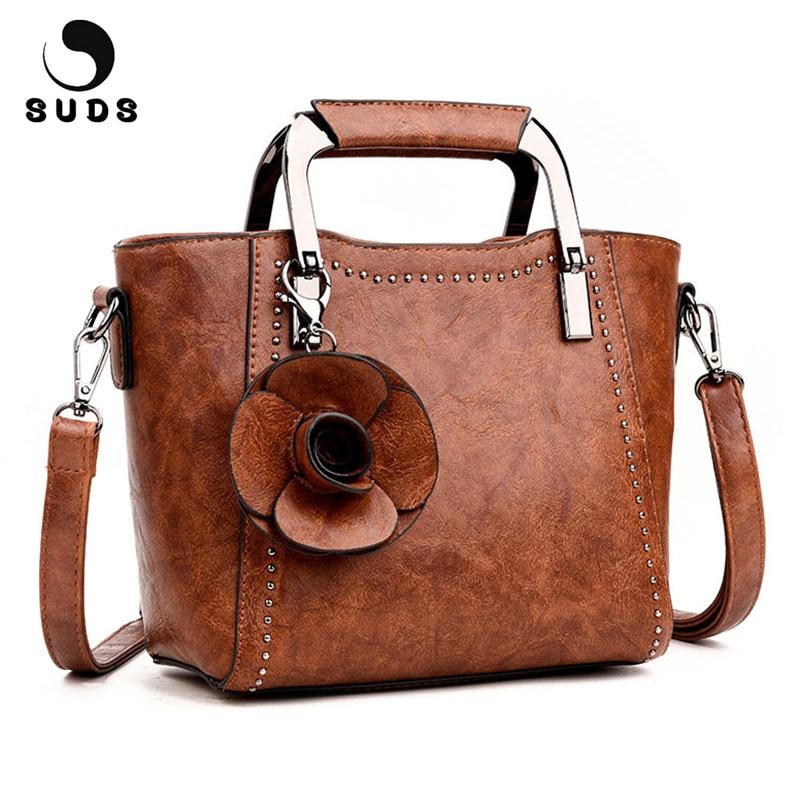 SUDS Brand Women Bag New Fashion PU Leather Handbags High Quality Flowers Women Messenger Bags Female Travel Shoulder Tote Bags стоимость