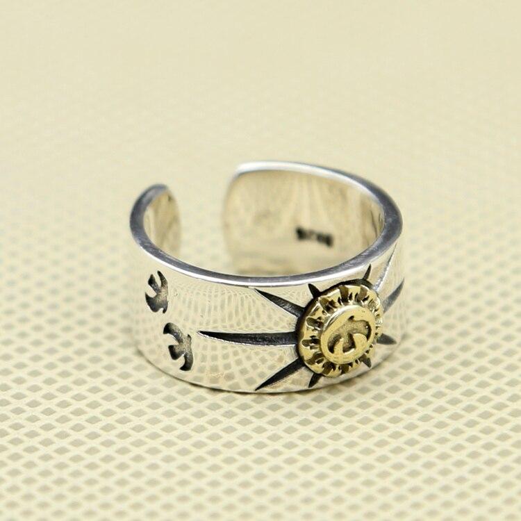 7.2 г твердых стерлингового серебра Орел и Защита от солнца манжеты кольцо Для мужчин Для женщин широкая полоса хвост кольцо Прохладный стер...