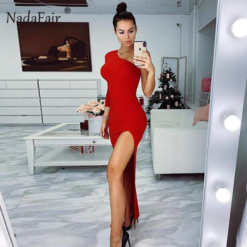 Nadafair High Split One Shoulder Sexy Club Party Dress Women Red Black Maxi Dress Celebrity Slim Long Bodycon Dress Vestidos