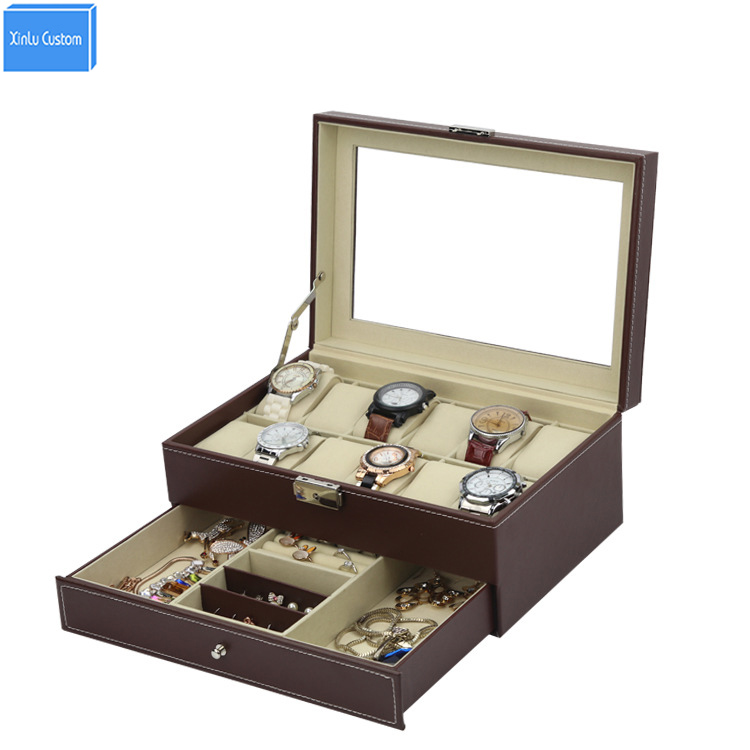 Special for collect brown storage leather watch box 12 jewelry sungalss case double layer with drawer