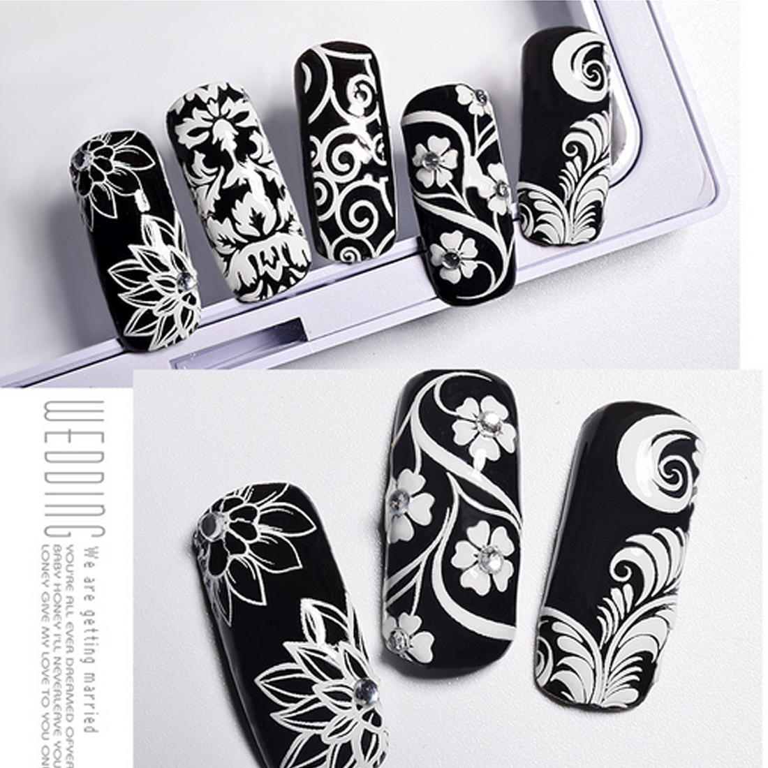Water transfer applique black and white nail stickers full stickers nail stereo 3D nail applique nail accessories decoration
