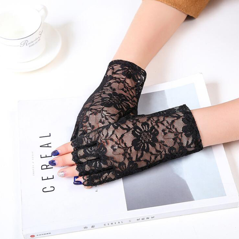Sexy Short Fingerless Gloves Women Flower Driving Gloves Ladies Transparent Half Finger Fishnet Luva Gants Weddingg Party