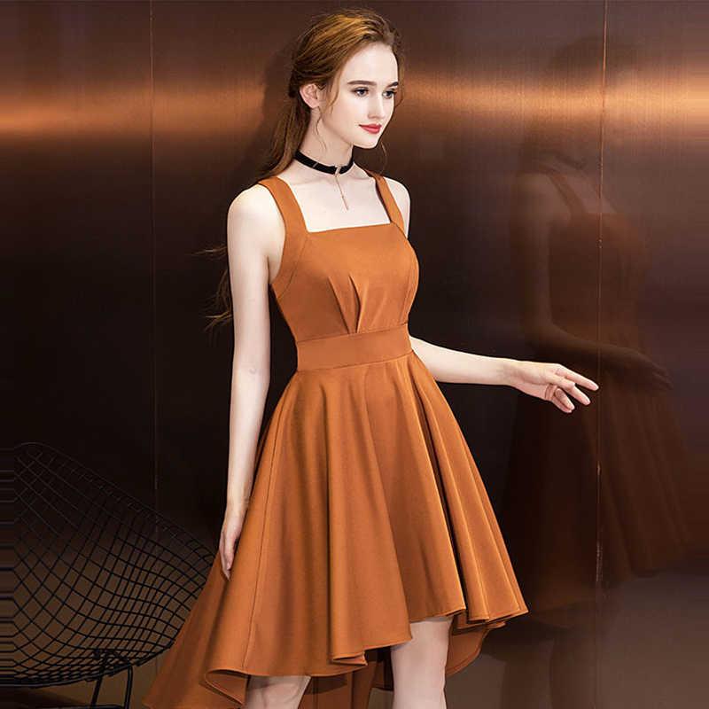 89a369f210e ... Это YiiYa коктейльное платье 2018 вечерние без рукавов Spagheetti на  высоком низкая модные дизайнерские Элегантные ...