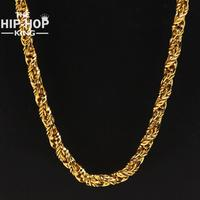7mm Hip Hop Bling Gold Plating Foxtail Chain Necklaces Unisex Solid Franco Chain 76cm Long Top