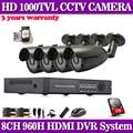 8ch 960h cctv dvr nvr video surveillance camera security system 4pcs 1000tvl outdoor camera kit hdmi 1080p 3g wifi Hard Disk 1TB