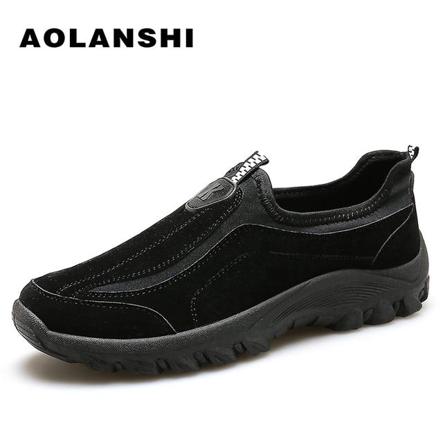 US $65.0  AOLANSHI Wilden Strapazierfähig Wanderschuhe Herren Neue Atmungsaktiv Rutschfeste Halbschuhe Elastische Sohlen Slip On männliche Schuhe