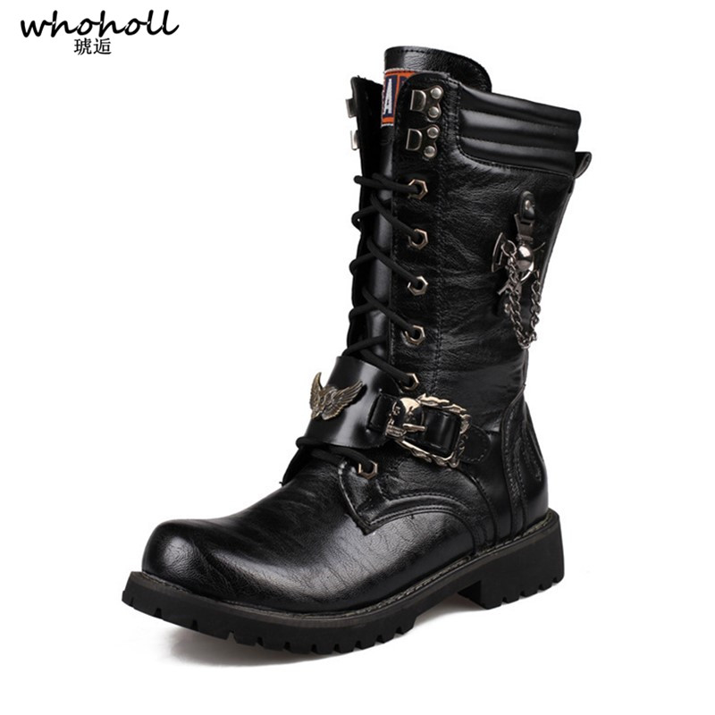 Motorcycle Boots Men Punk Martin PU Leather Boots Moto Steampunk Boots Lace up Military Boots Mid