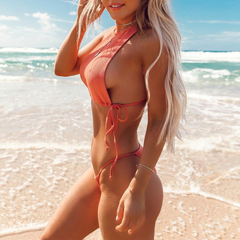 In-X Sexy high neck swimsuit female Orange bikini 2019 Tie up swimwear women High cut bathing suit Biquini 2 piece Beach wear 1