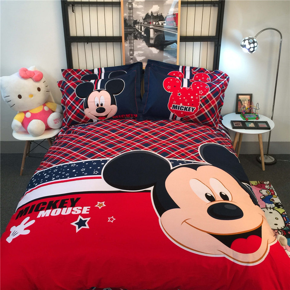 British Style Mickey Mouse Printed Bedding Comforters Coverlets Set Single Twin Full Queen King