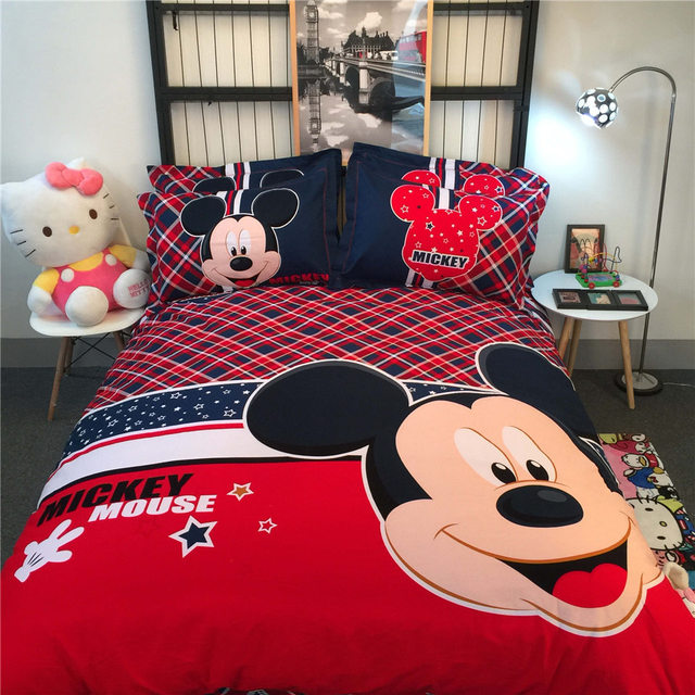 British Style Mickey Mouse Printed Bedding Comforters Coverlets Set Single Twin Full