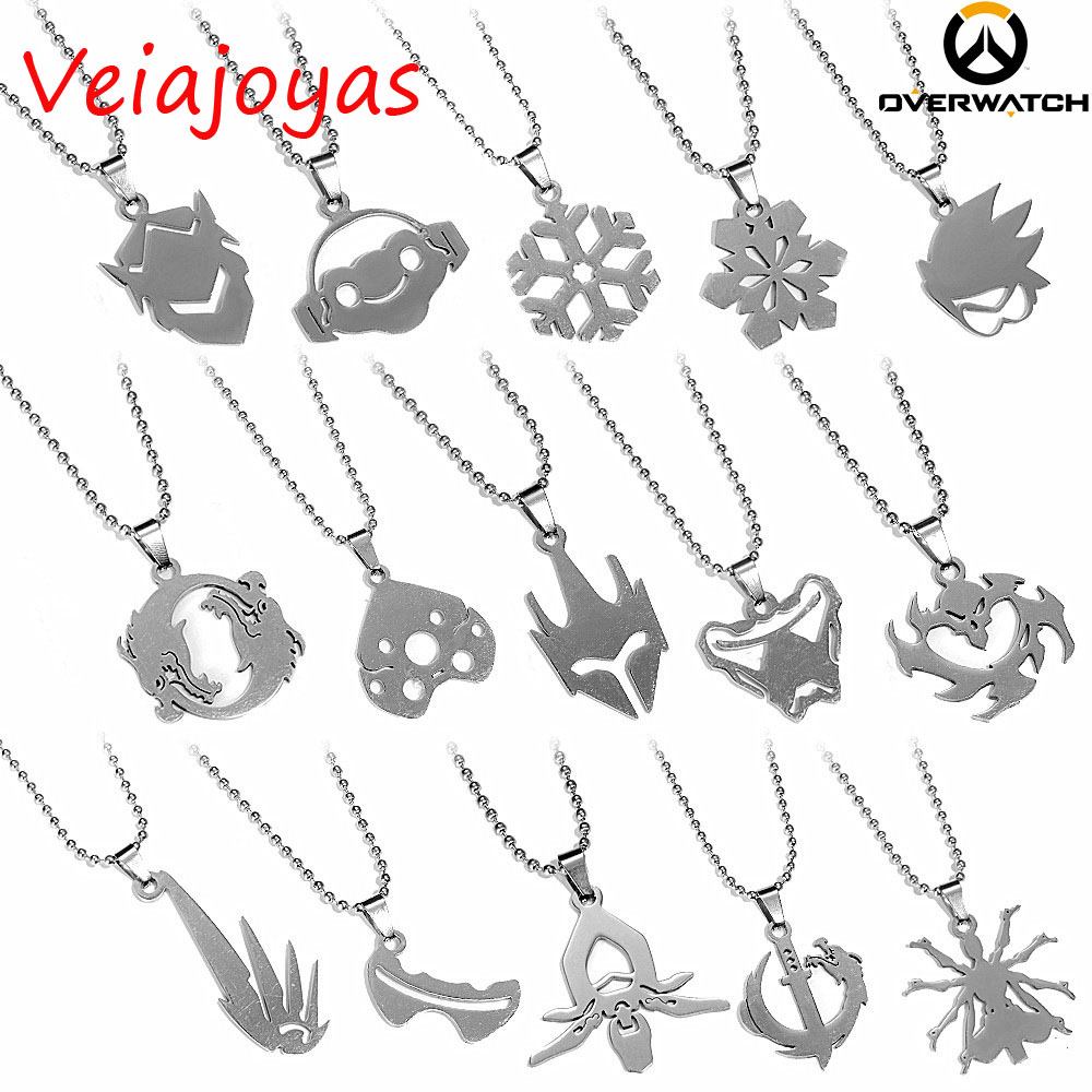 2017 New 15Styles Stainless Steel Pendants Necklace Game Mei Mercy Overwatch Choker Necklace Women Gifts Tracer Reaper OW Collar image