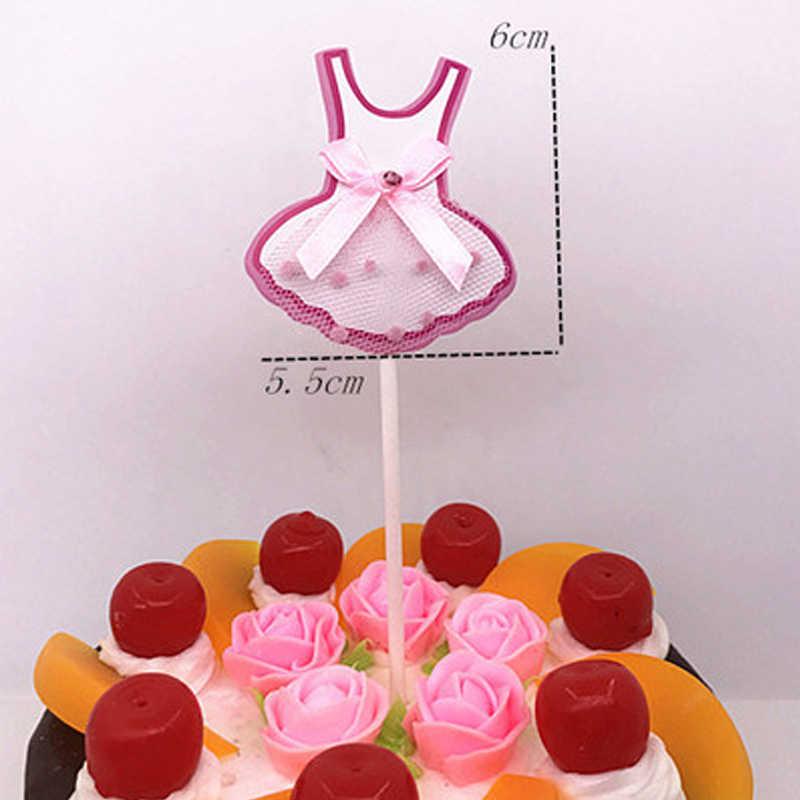 5 шт./партия, милое платье принцессы с вуалью и бантом, юбка для торта, для дня рождения, свадьбы, вечеринки, украшения для кексов