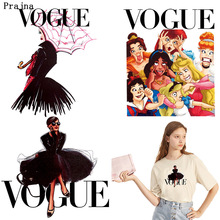 Prajna DIY VOGUE Thermal Stickers on Clothes Printed Iron Transfer for Clothing Funny Princess Girl Heat Applique F