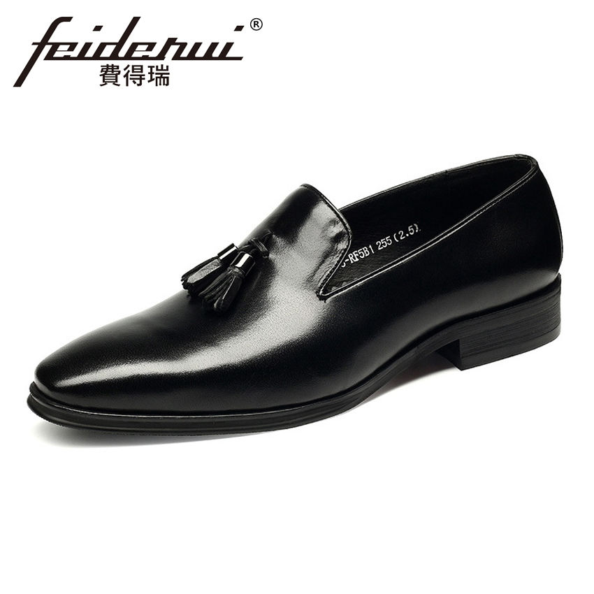 New Arrival Men's Loafers Round Toe Slip on Man Wedding Party Flats Genuine Leather Handmade Height Increasing Male Shoes HMS92 2016 new fashion embroidery genuine leather man shoes handmade wedding and party male loafers men flats size 39 47 free shipping