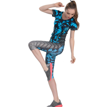 Top Quality! Women's Yoga Sets Short Sleeves Jersey And Cropped Pants Sportwear Running Gym Fitness Suit