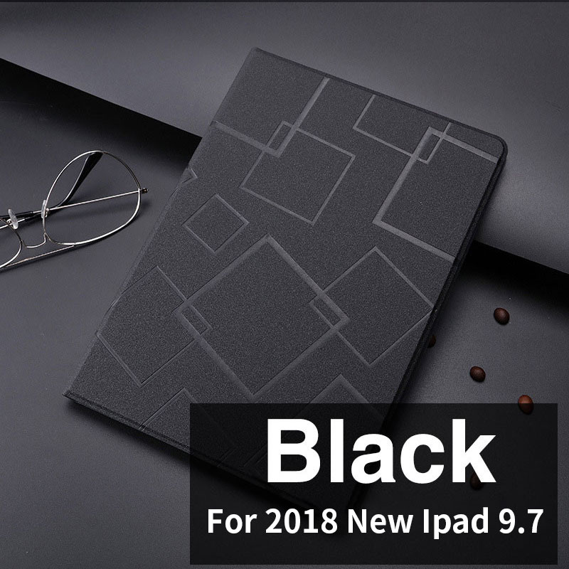 Black Slim case with geometric pattern and 2stand for iPad 9.7 inch (2017, 2018)