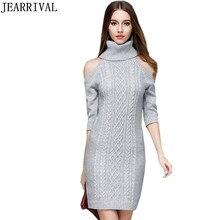 2017, Новая мода трикотажные Платья-свитеры элегантный Для женщин пикантные с открытыми плечами водолазка Bodycon Зимние Платья Vestidos De Festa