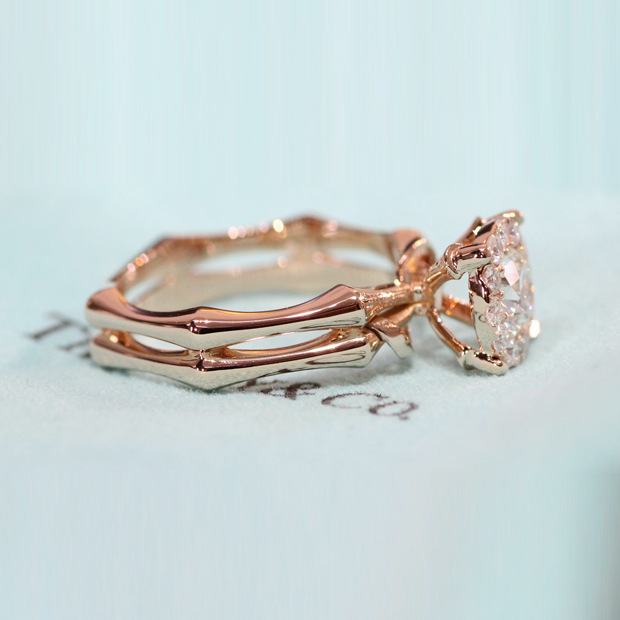 New Fashion Rose Gold Color Ring for Women Round Bamboo Shape Flower AAA Cubic Zircon Finger Rings For Female Party Jewelry Gift in Engagement Rings from Jewelry Accessories