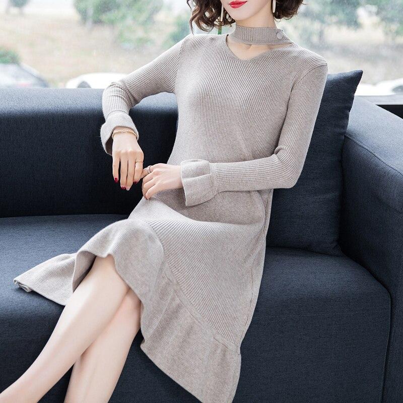 Femmes Beige Qualité Grande Décontracté Mode De Supérieure Robes Robe Pullover 2019 Dames Automne Tricoté blue Chandail Hiver Taille black jSzqUGLMVp