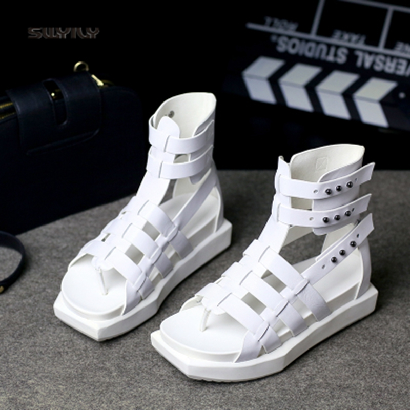 En Flops 2018 Rome D'été Femmes Rivet Chaussures High Swyivy blanc Sandales Noir Plate Cuir Véritable forme Femme Filp Top Casual WdxBCore