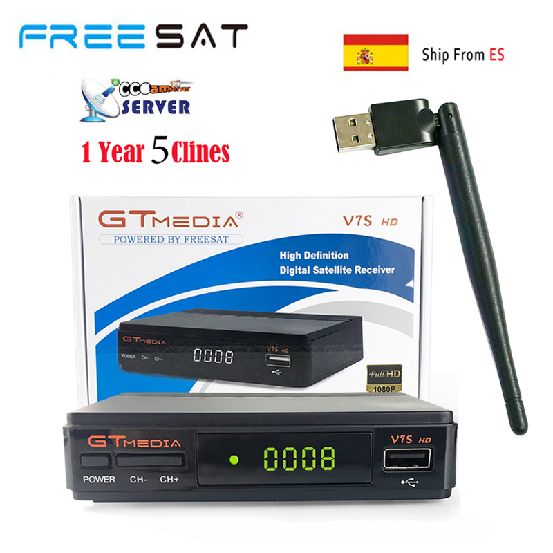 Ship From ES freesat GTMEDIA V7S DVB-S2 1080P HD Satellite Receiver Support PowerVu,DRE Biss key Spain Cccam Cline For 1 Year