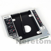 Heretom Universal Aluminum SATA to SATA 12.7mm 2nd HDD SSD Optibay Caddy For Laptop DVD CD-ROM Optical Bay