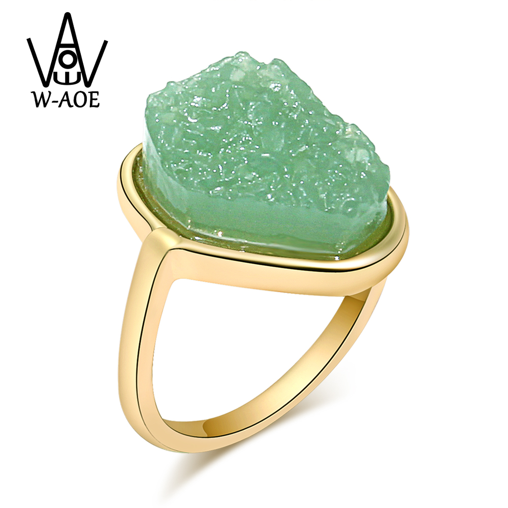 Luxury Green Natural Stone Rings For Women Girl Fashion