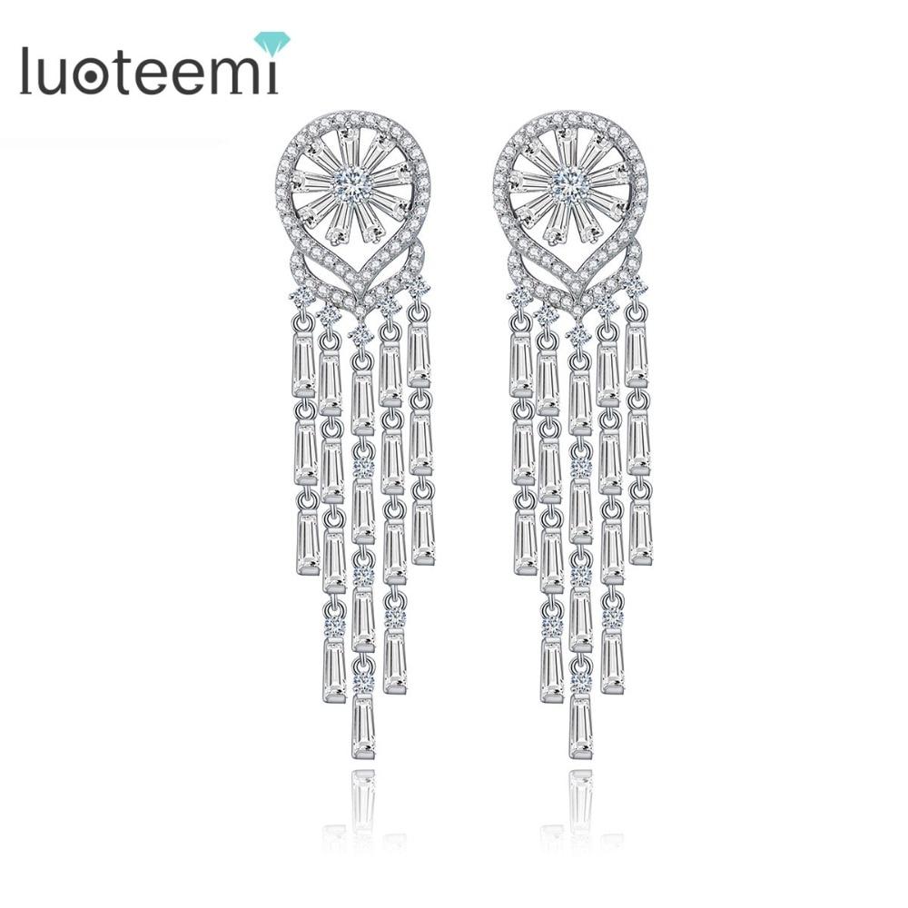 LUOTEEMI 2016 New Korea Style AAA CZ Wedding Bridal Tassel  Long Earrings For Women Brincos Bijoux Free Shipping