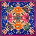 100cm*100cm 100% Twill Silk Euro Brand French design Night sky Hofgarten palace garden Printed Women Square Silk Scarves 3101